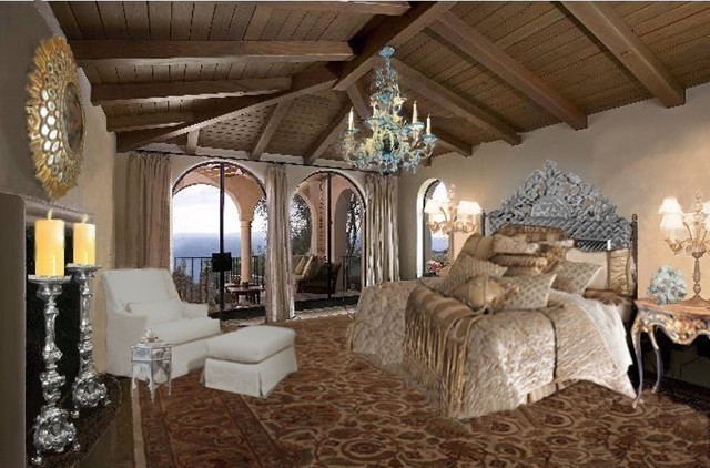 California spanish colonial mediterranean bedroom for Spanish style bedroom