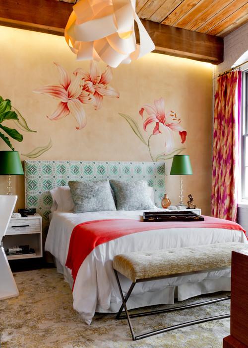 разноцветная современная спальня