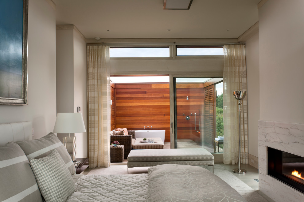 Inspiration for a contemporary bedroom remodel in Boston with white walls and a ribbon fireplace