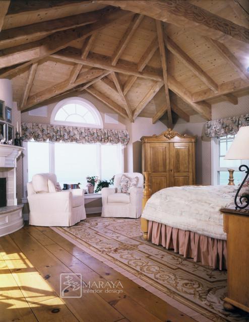 Large Coastal Master Light Wood Floor Bedroom Photo In Santa Barbara With A  Standard Fireplace,