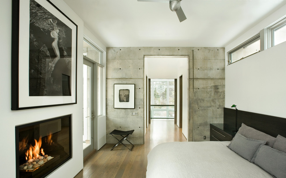 Trendy medium tone wood floor bedroom photo in Denver with white walls and a standard fireplace
