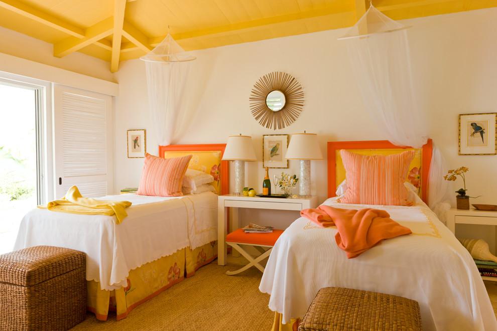 Bedroom - tropical yellow floor bedroom idea in Boston with white walls