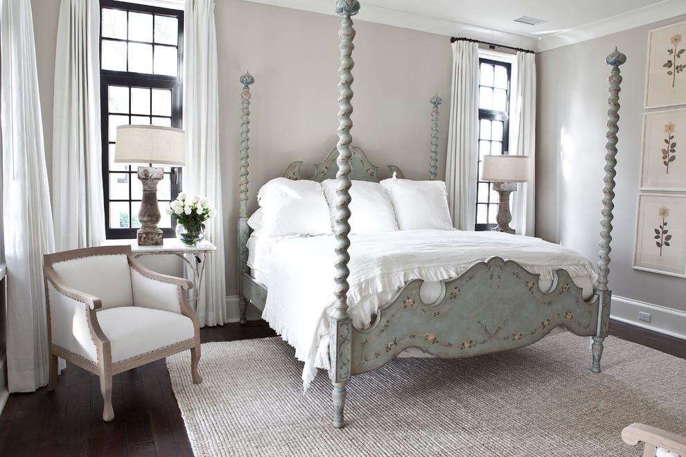 Bedroom - traditional dark wood floor bedroom idea in Charleston with gray walls