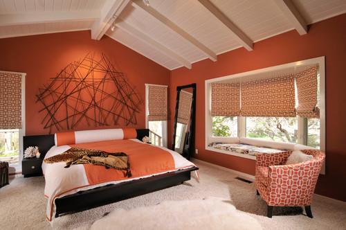 dormitorio estilo retro en color naranja