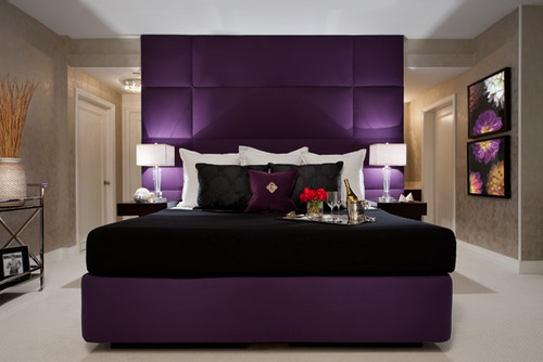 Modern window treatments for bedrooms - Love The Faux Tiled Royal Purple Headboard