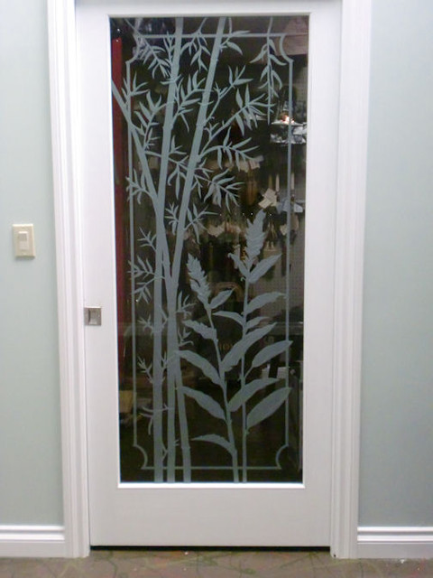 Carved / Sandblasted Door with Bamboo and Ginger Design - Tropical - Bedroom - Los Angeles - by ...