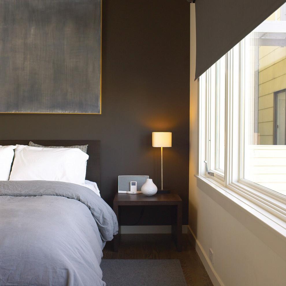 Transitional dark wood floor bedroom photo in San Francisco with gray walls