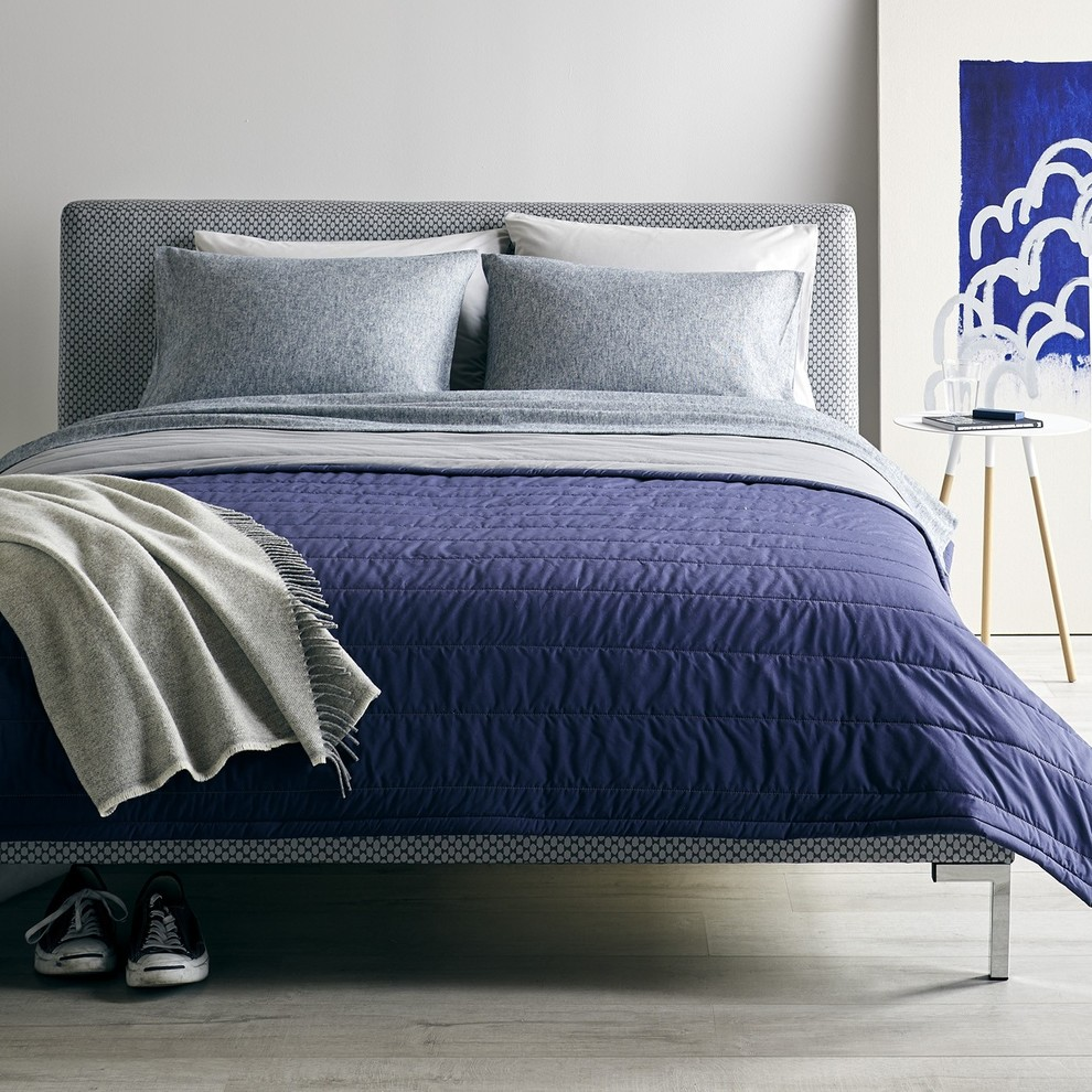 casual cool navy  gray bedroom collection  modern