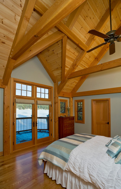 Cathedral Ceiling Timber Frame Master Bedroom Rustic Bedroom Other By Davis Frame Company