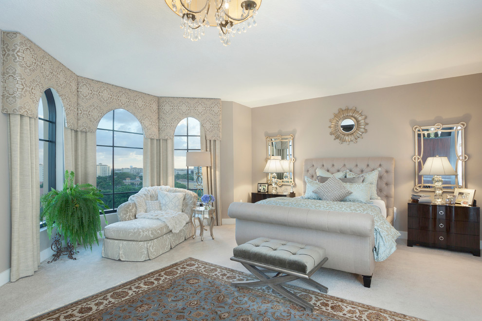 Bedroom - transitional carpeted bedroom idea in Miami with gray walls and no fireplace