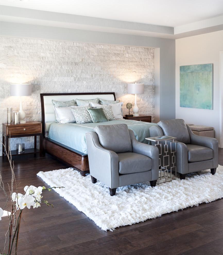Inspiration for a contemporary dark wood floor bedroom remodel in Sacramento