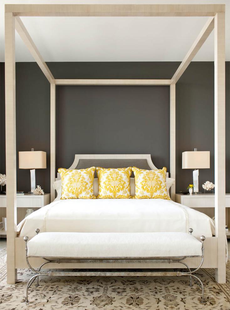 Trendy bedroom photo in Dallas with gray walls