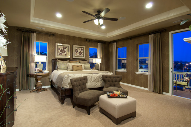 Inspiration For A Timeless Carpeted Bedroom Remodel In Denver With Brown Walls