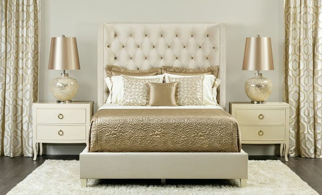 Champagne Dream Salon Upholstered Bed Traditional Bedroom