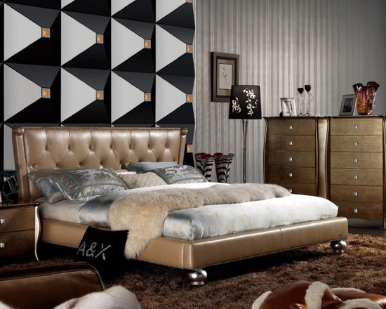 Champagne Italian Leather Bed with Tufted Headboard - Features: