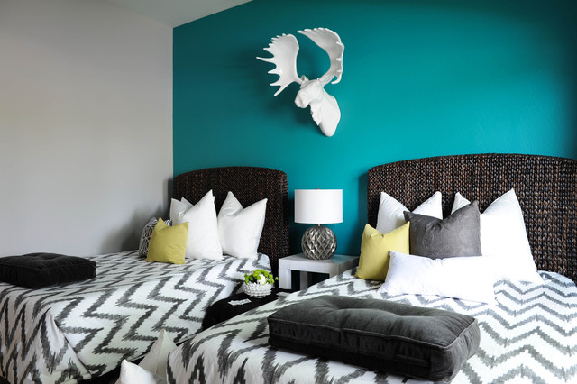 Large contemporary guest carpeted and gray floor bedroom idea in Phoenix  with blue walls. Sage And Teal Accents   Houzz