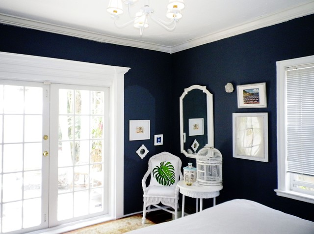 charcoal bedroom with white trim - Traditional - Bedroom - other metro - by sharonna misha designs