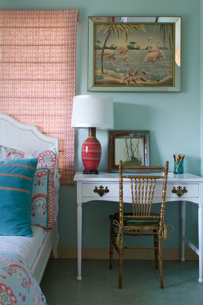 Inspiration for an eclectic bedroom remodel in Los Angeles with blue walls