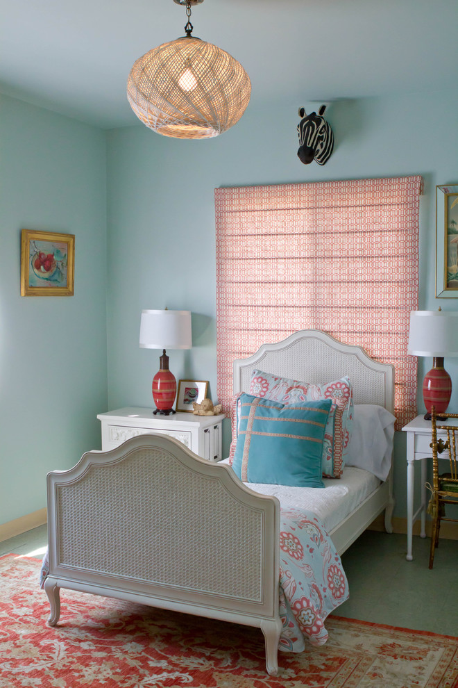 Trendy bedroom photo in Los Angeles with blue walls