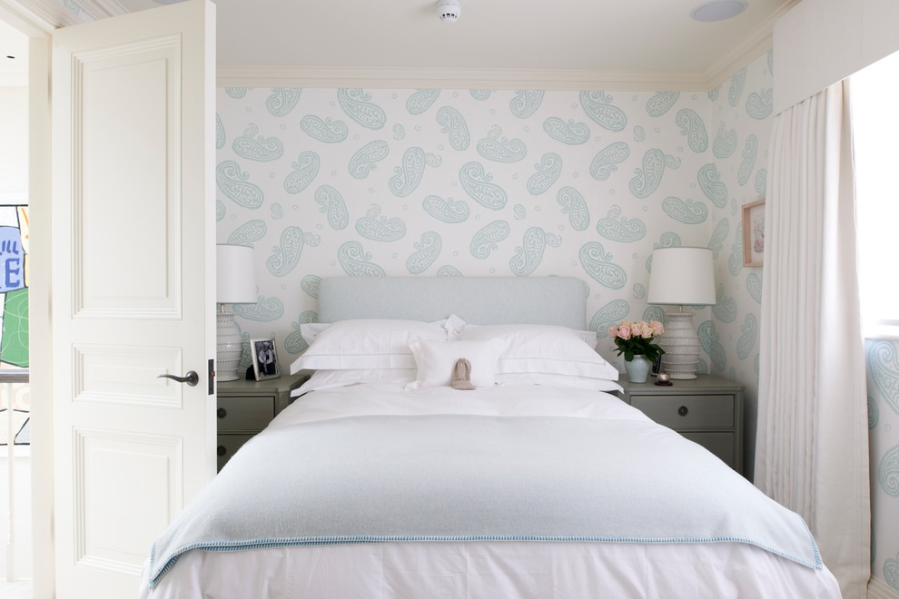 Small transitional bedroom photo in London with multicolored walls