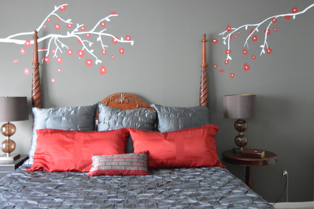 Cherry blossom eclectic bedroom houston by droz design for Cherry blossom bedroom ideas