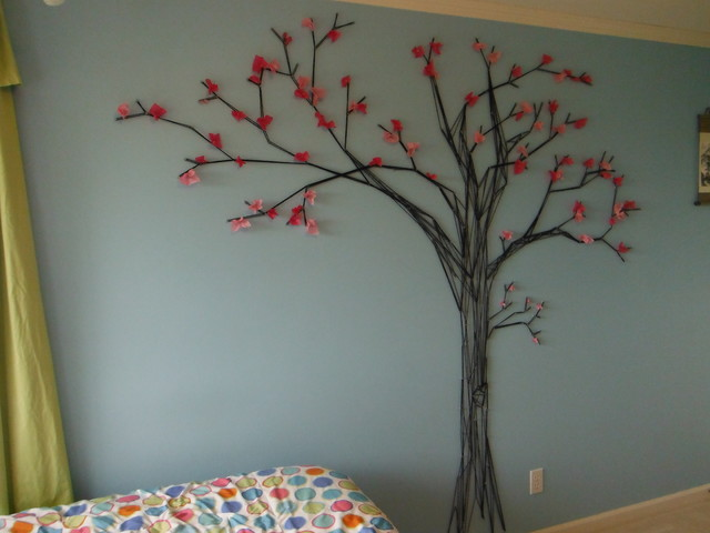 Cherry blosson tree mural modern bedroom vancouver for Black tree mural