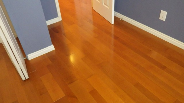 Cherry Stained Maple Floor Traditional Bedroom