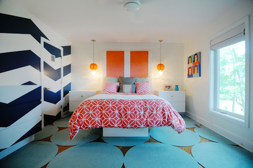 Chevron Wall, Matching Nightstands and Platform Bed