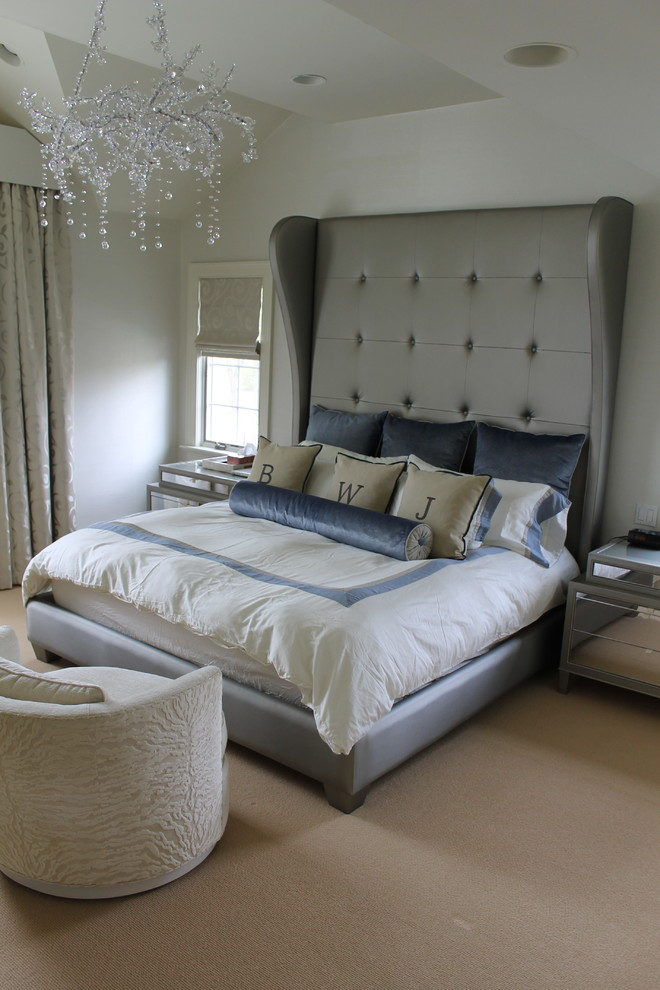 Bedroom - mid-sized shabby-chic style master carpeted and beige floor bedroom idea in New York with white walls