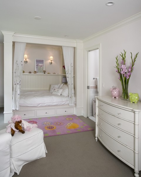 Childs Pink Bedroom With Built In Bed In Traditional Style
