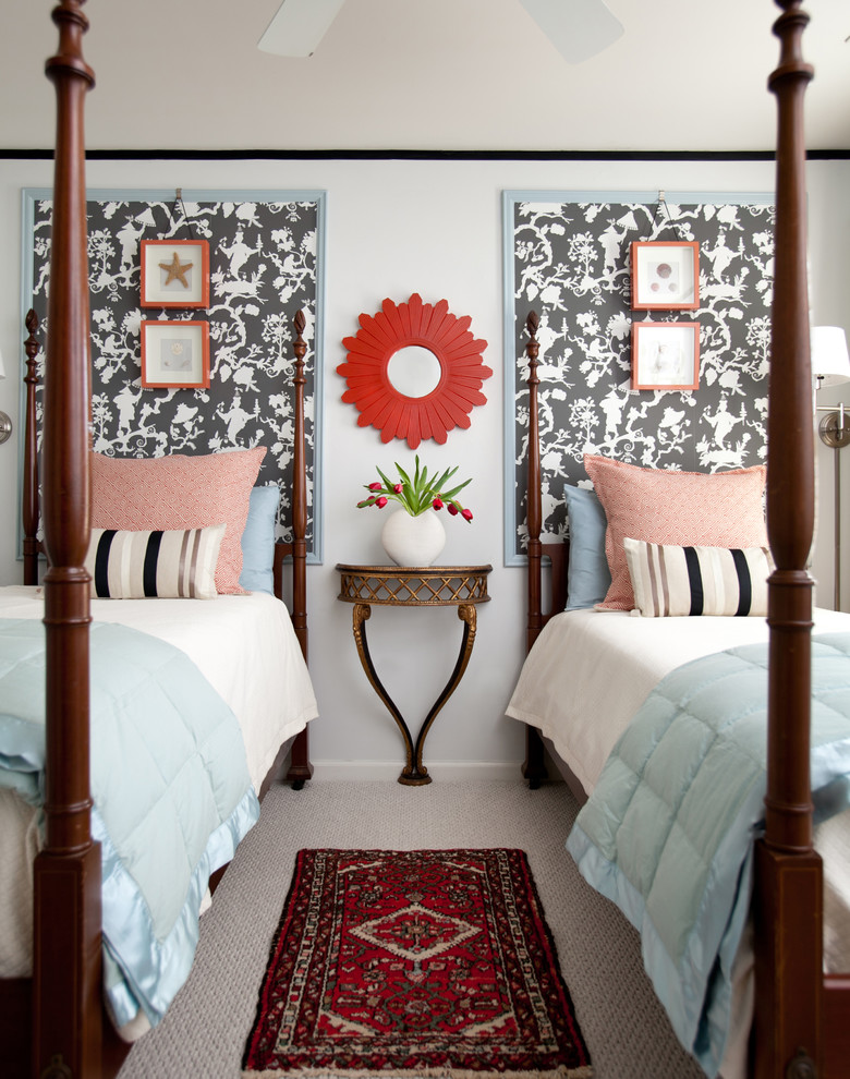 Bedroom - transitional guest carpeted bedroom idea in Atlanta with blue walls