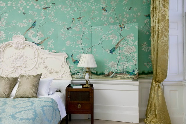 Chinoiserie Hand Painted Wallpaper Traditional Bedroom