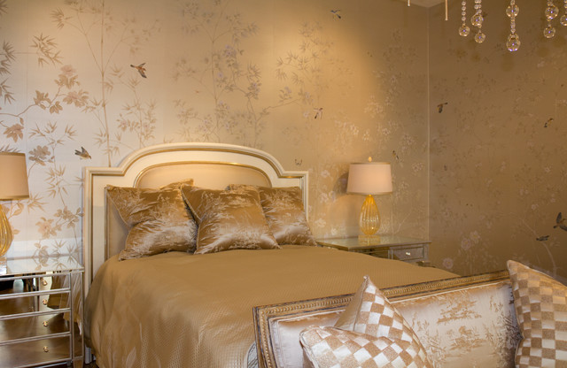 Chinoiserie Wallpapers Transitional Bedroom Los Angeles By