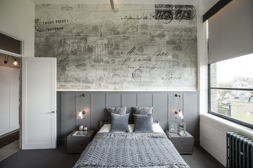 Large urban master carpeted bedroom photo in London with gray walls