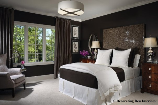 Attractive Chocolate Brown And White Bedroom Contemporary Bedroom