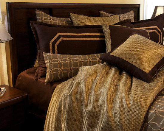 Bedding 2013 - A suffocated pallet of Gold and Chololate Brown paired with Rich texture gives this a set a masculine look.