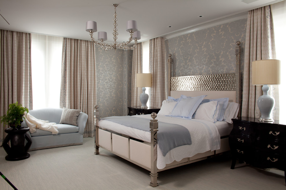 Example of a trendy carpeted bedroom design in New York with gray walls