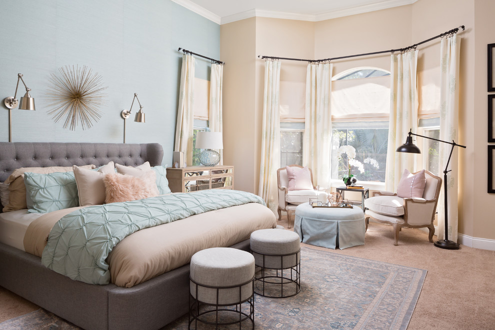 Transitional master carpeted and brown floor bedroom photo in Orlando with blue walls