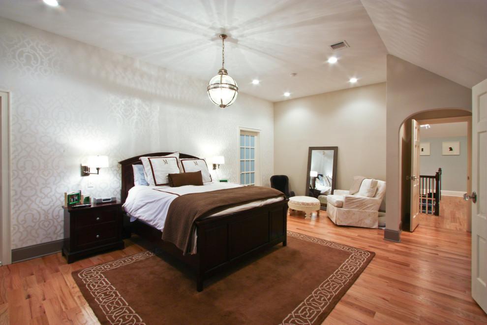 Bedroom - traditional medium tone wood floor bedroom idea in Newark with multicolored walls