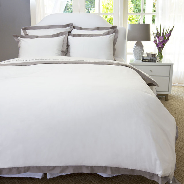 Classic Hotel-Inspired Border Duvet, The Linden Gray contemporary-bedroom
