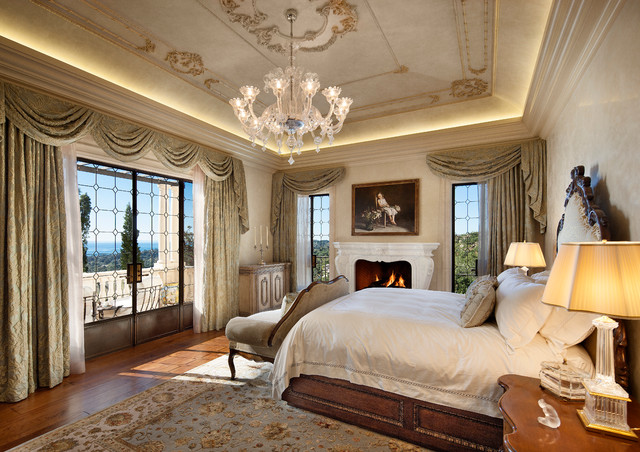Amazing Tuscan Medium Tone Wood Floor Bedroom Photo In Santa Barbara With Beige  Walls And A Standard