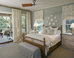 Classic Southern Shingle Style Home on Lagoon traditional bedroom