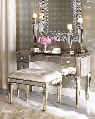 Mirrored Vanity & Vanity Seat  traditional bathroom vanities and sink consoles