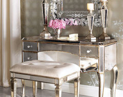 """Claudia"" Mirrored Vanity/Desk & Vanity Seat traditional-bedroom"