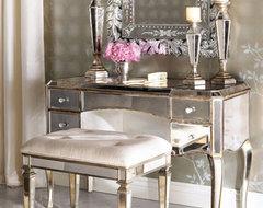 """Claudia"" Mirrored Vanity/Desk & Vanity Seat traditional-bedroom"