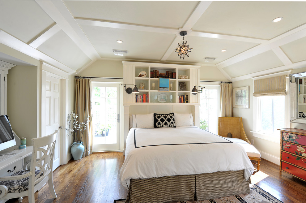 Inspiration for a transitional bedroom remodel in St Louis with beige walls
