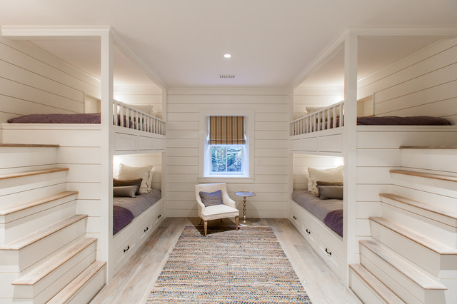 inspiration for a mid sized beach style guest light wood floor bedroom remodel in boston
