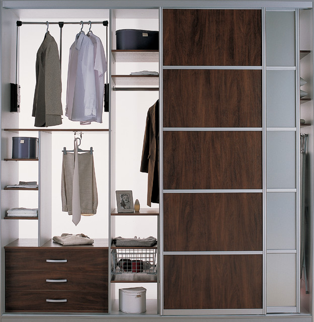 Closet Organizer With Sliding Doors Modern Bedroom