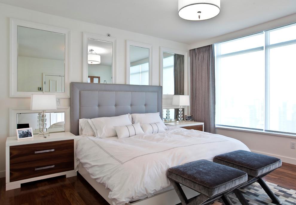 Bedroom - contemporary dark wood floor bedroom idea in Vancouver