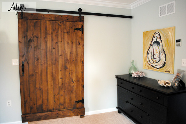 Coastal Bedroom Barn Door Traditional Bedroom